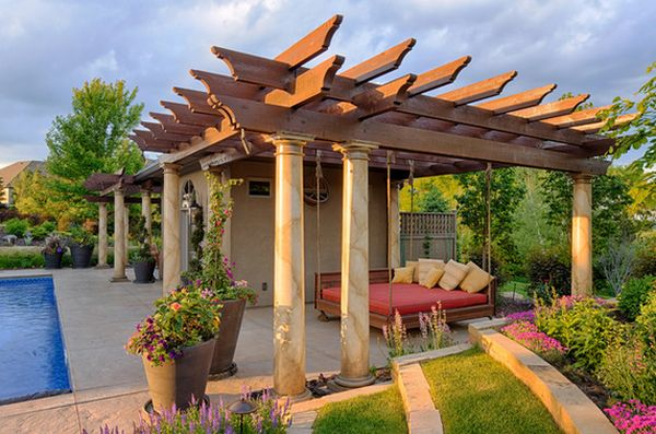 Radiant Patio Near Swimming Pool With Best Besd Swing Design