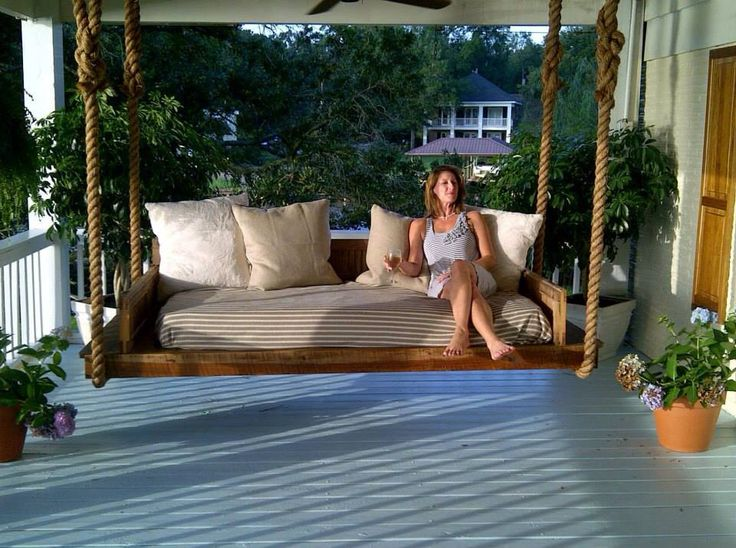 Radiant Terrace Using Charming Outdoor Bed Swing With Rope Pipe