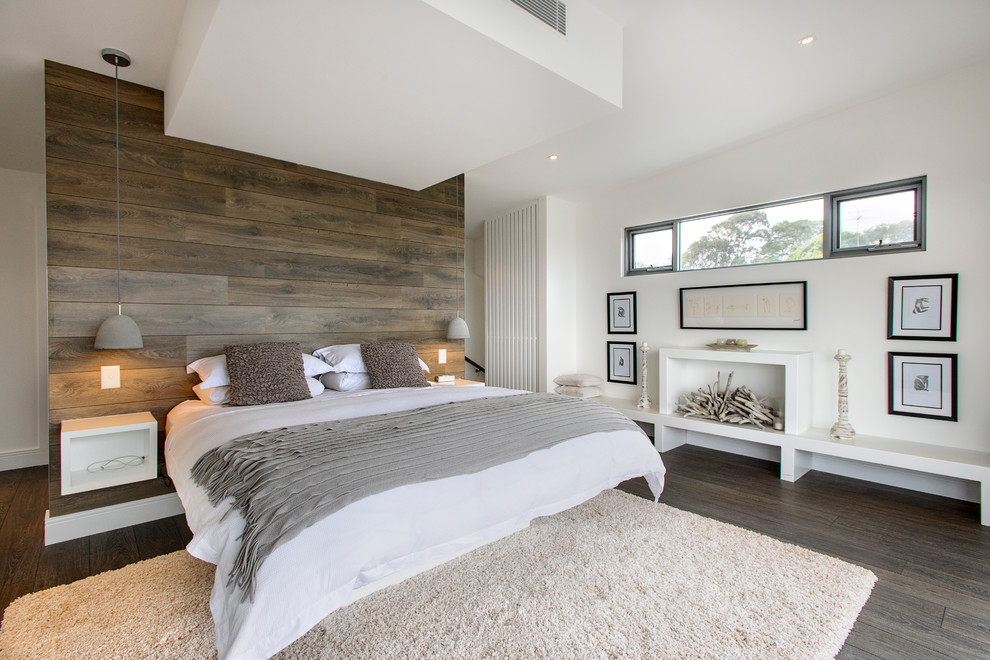 Ravishing Interior Bedroom Using Wooden Panel Background also Nice Bed Frame