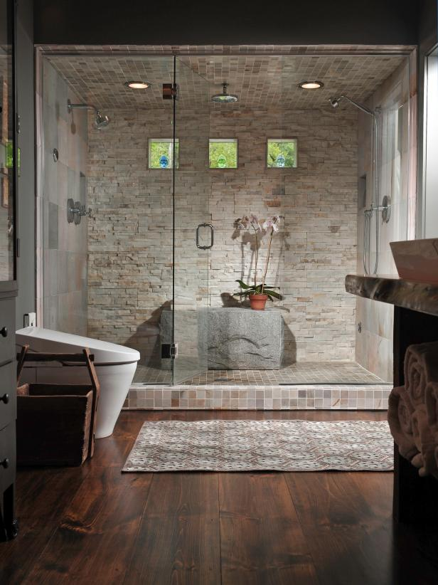 Ravishing Open Shower Ideas also Toilet Plus Wooden Floor Tile