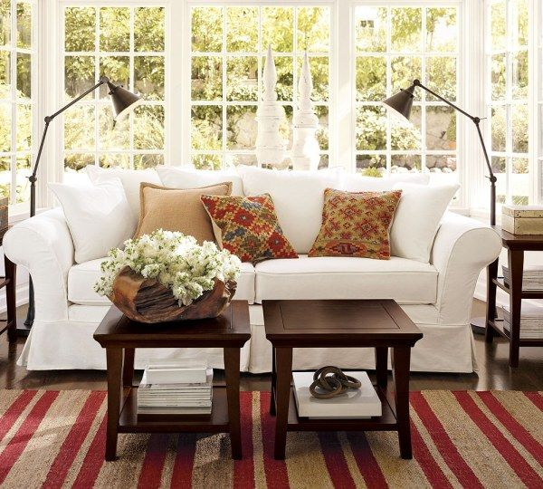 Seductive Interior Pottery Barn Dining Room With Sofa Between Arch Floor Lamp