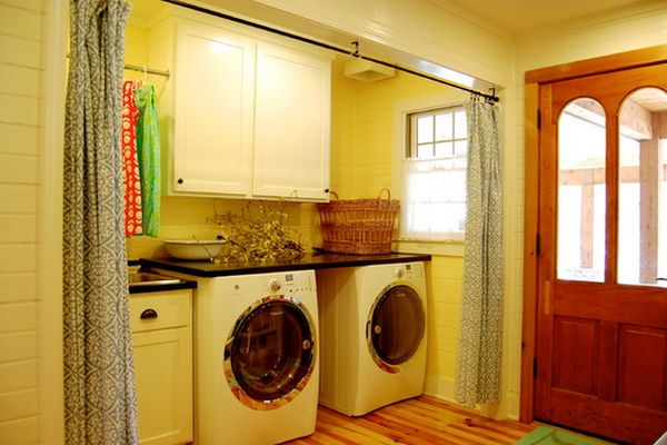 Seductive Laundry Room Concept With Wahing Machine also Neat Curtains