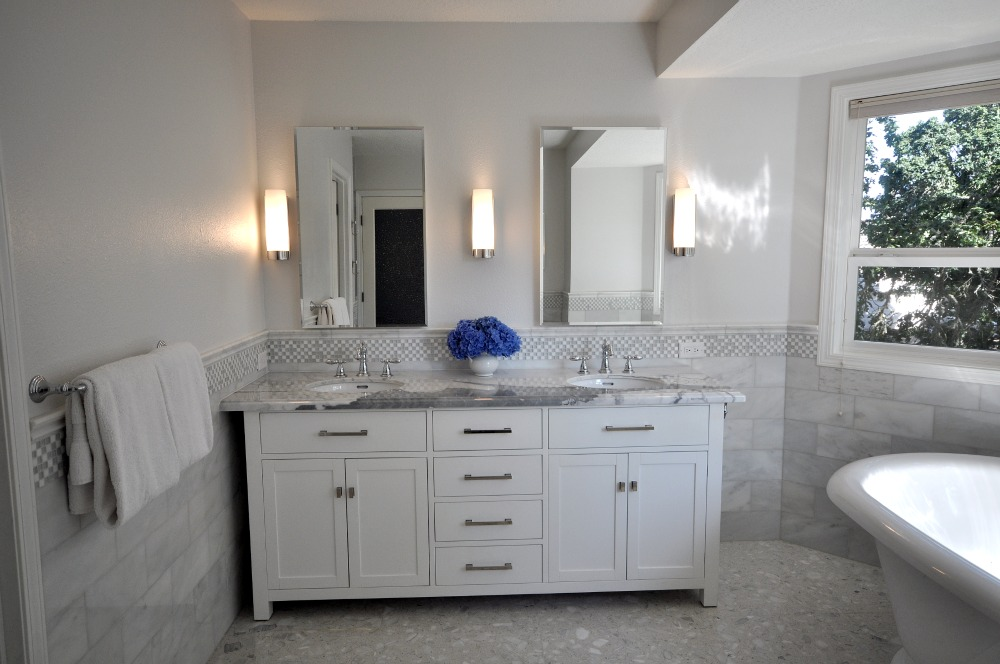 Simple Design Of White Cabinet also Mirror Between Wall Lamps Near Window