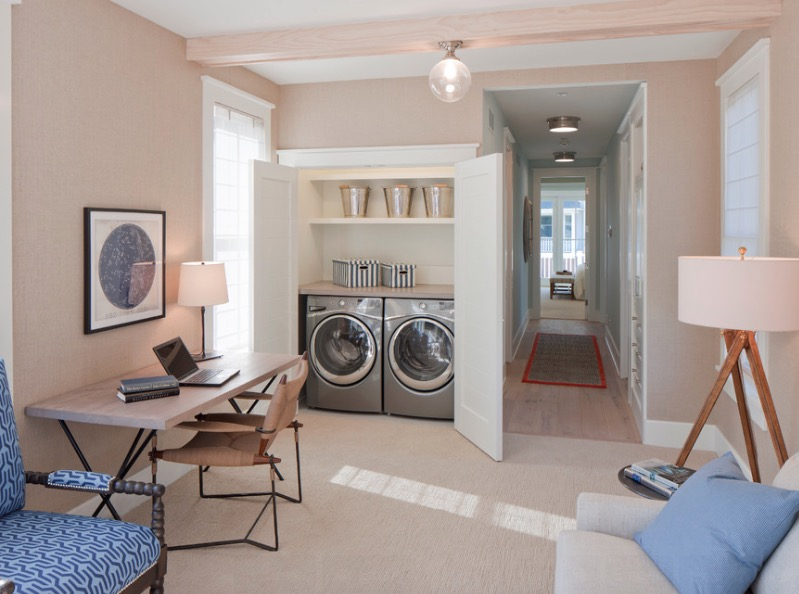 Spacious Laundry Room With Minnimalit Cabinet also Table and Chair