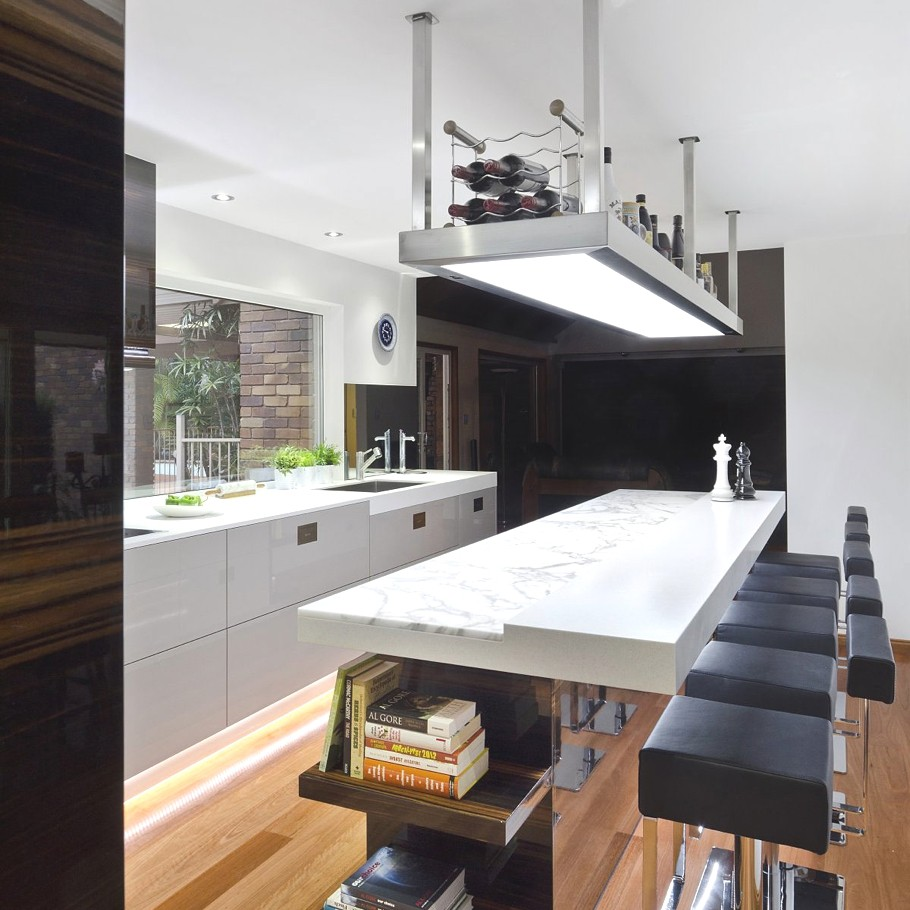 Statuesque Bar Table And Dark Stool Also Pendant Lighting For Kitchen Design