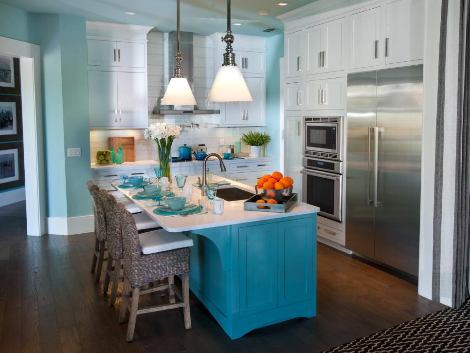 Stunning Kitchen Design With Blue Cabinet and Interesting Chairs also Pendant Lighting