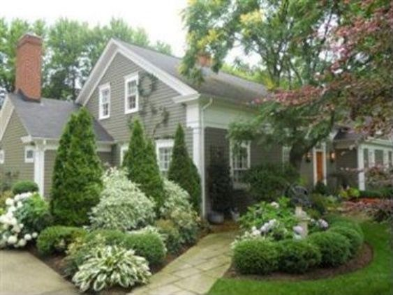 Stylish Curb Appeal Landscaping Design With Pine Trees and Grasses