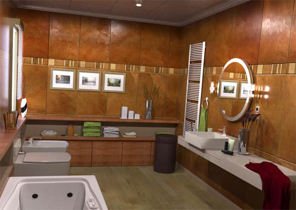 Sublime Interior Bathroom With Wooden Storage Shelves also Toilet and Circle Mirror