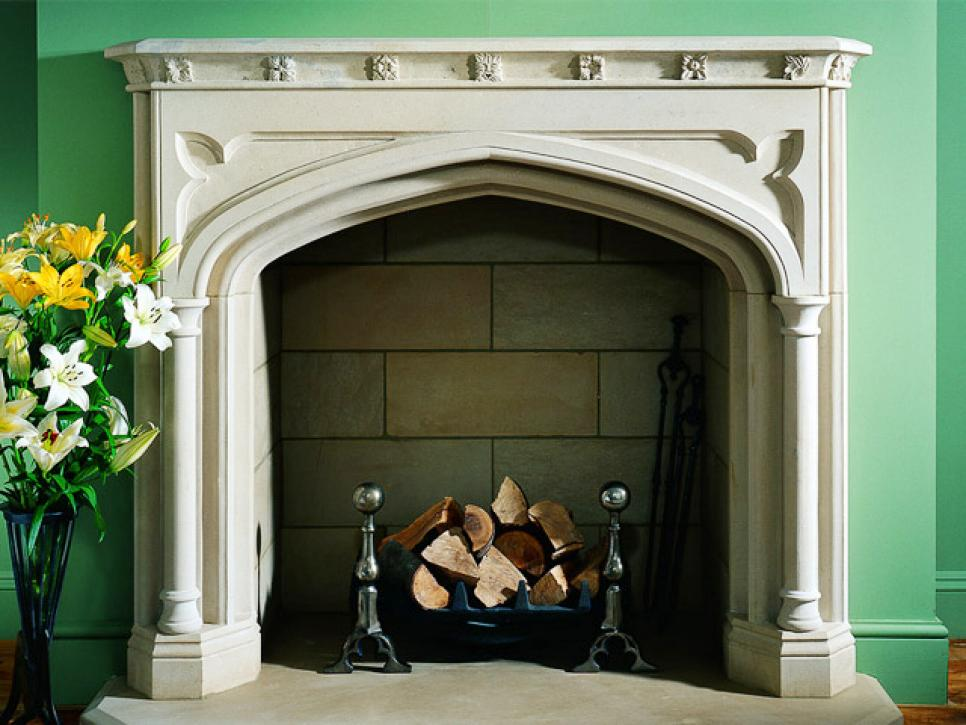 Ordinaire Sumptuous Fireplace Hearth Ideas With Neat Mantel Beside Fake Flowers