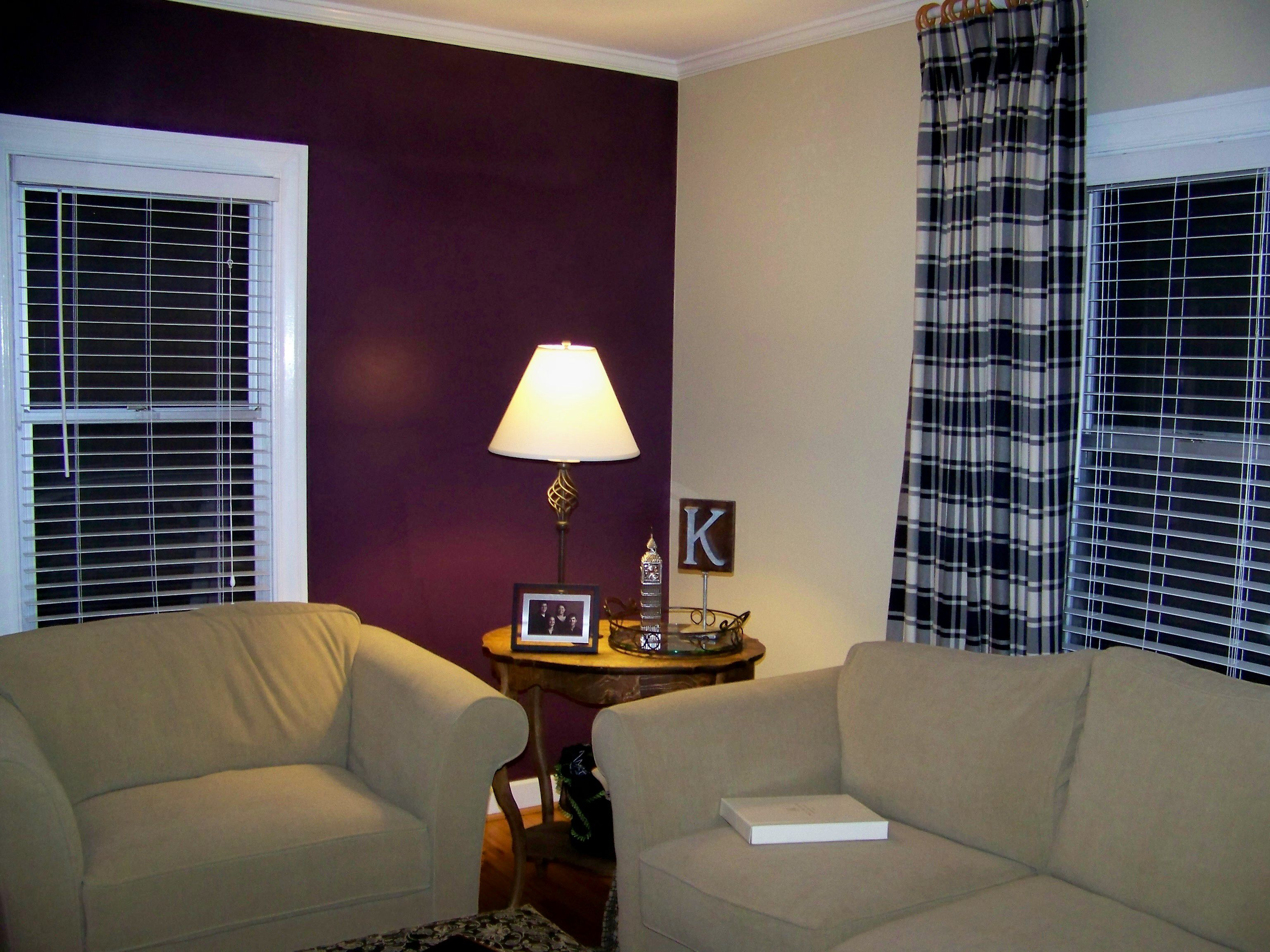 Sumptuous Living Room With Purple Wall Paint and Chic Sofas