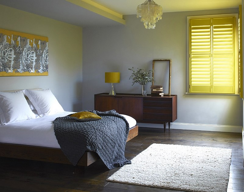 Tantalizing Concept Of Yellow And Gray Bedroom With Window Curtain