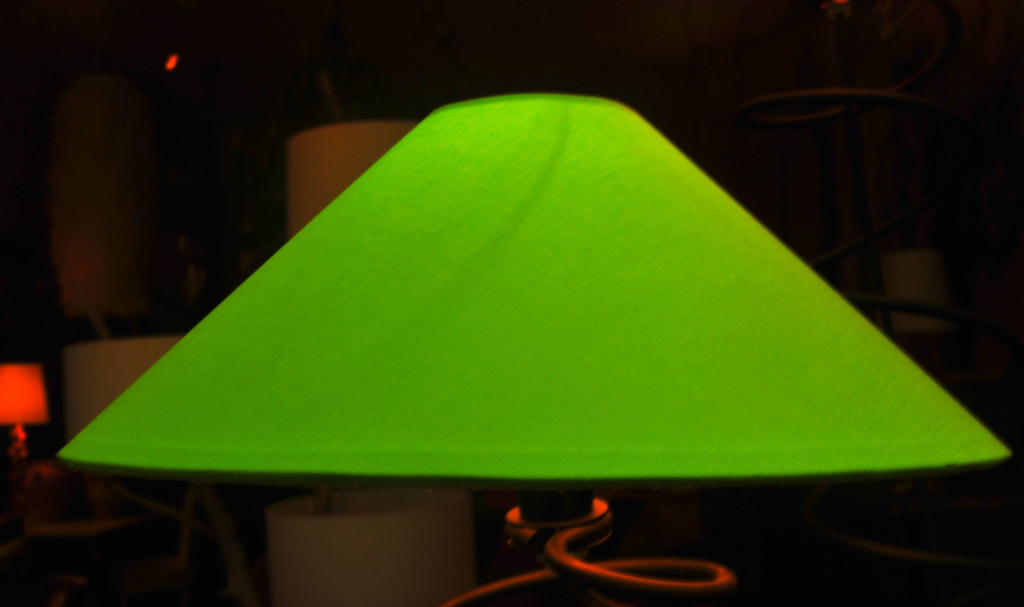 Tantalizing Table Lamp Using Triangular Green Lamp Shade and Neat Pipe