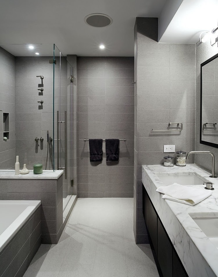 Teasing Style Of Gray and White Bathroom Using Lush Cabinet With Shiny Top
