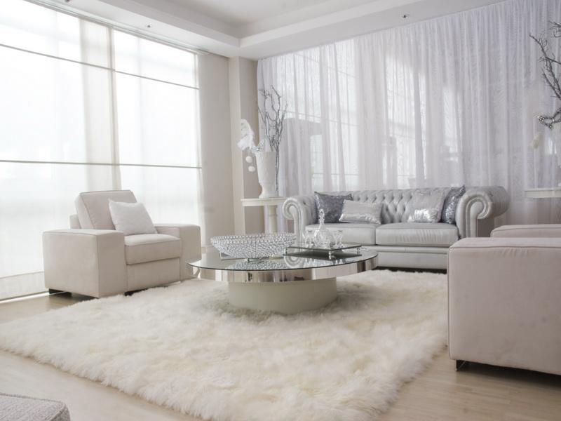 Trendy Sofa also Glass Coffee Table For Best White Living Room Set