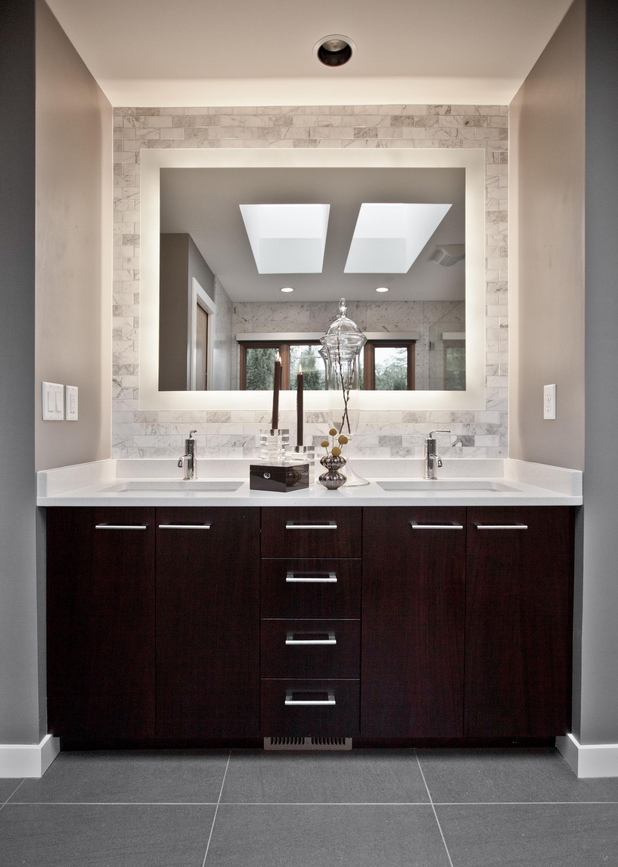 Alluring Cabinet Using Double Sinks and Faucets For Decorating Small Bathroom