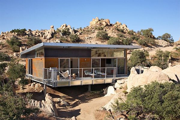 Alluring Exterior Prefab Small House With Simple Terrace Using Nice Furniture
