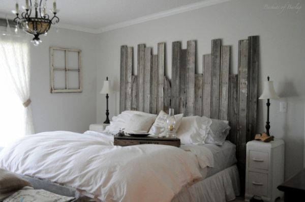 Amazing Interior Bedroom Using Rustic Wood Headboard also Cute Chandelier