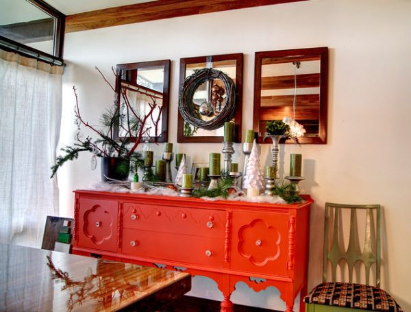 Astonishing Dining Space Using Green Accessories On Orange Buffet Table