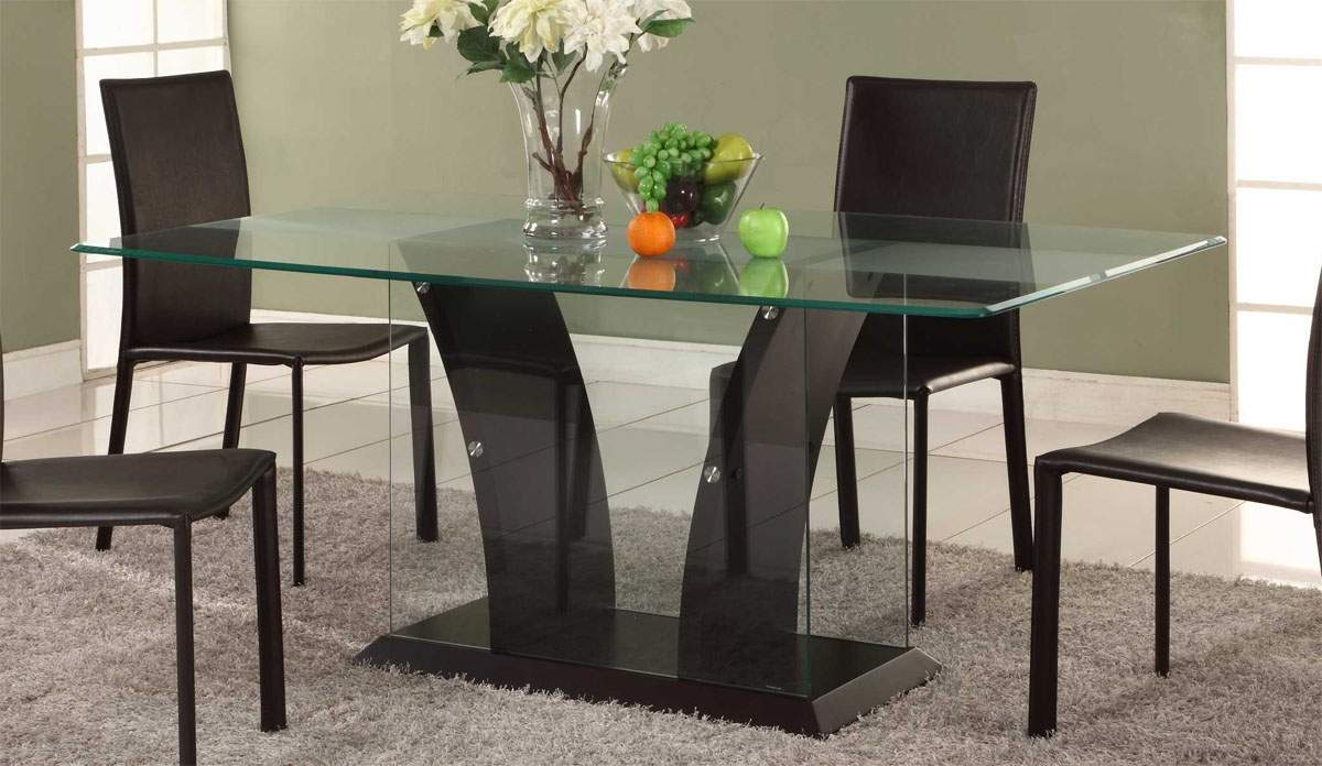 Attractive Concept Of Modern Glass Dining Table With Simple Legs