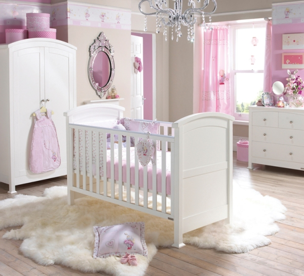 Awesome Design Of Modern Baby Furniture With White Crib and Cupboard