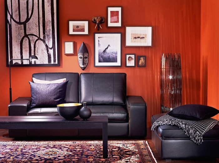 Awesome Orange Living Room Wall Design also Black Sofa and Table