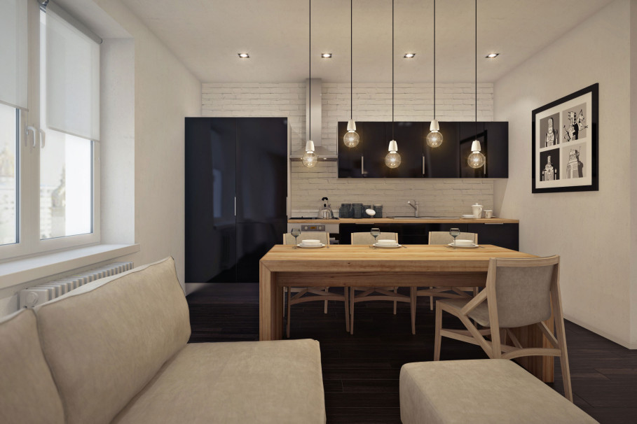 Awesome Studio Apartment Layout Using Simple Cabinet And Dining Table Sets