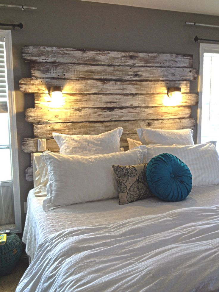 Beauteous Bedroom Design Using Pillows and Rustic Headboard also Lamps