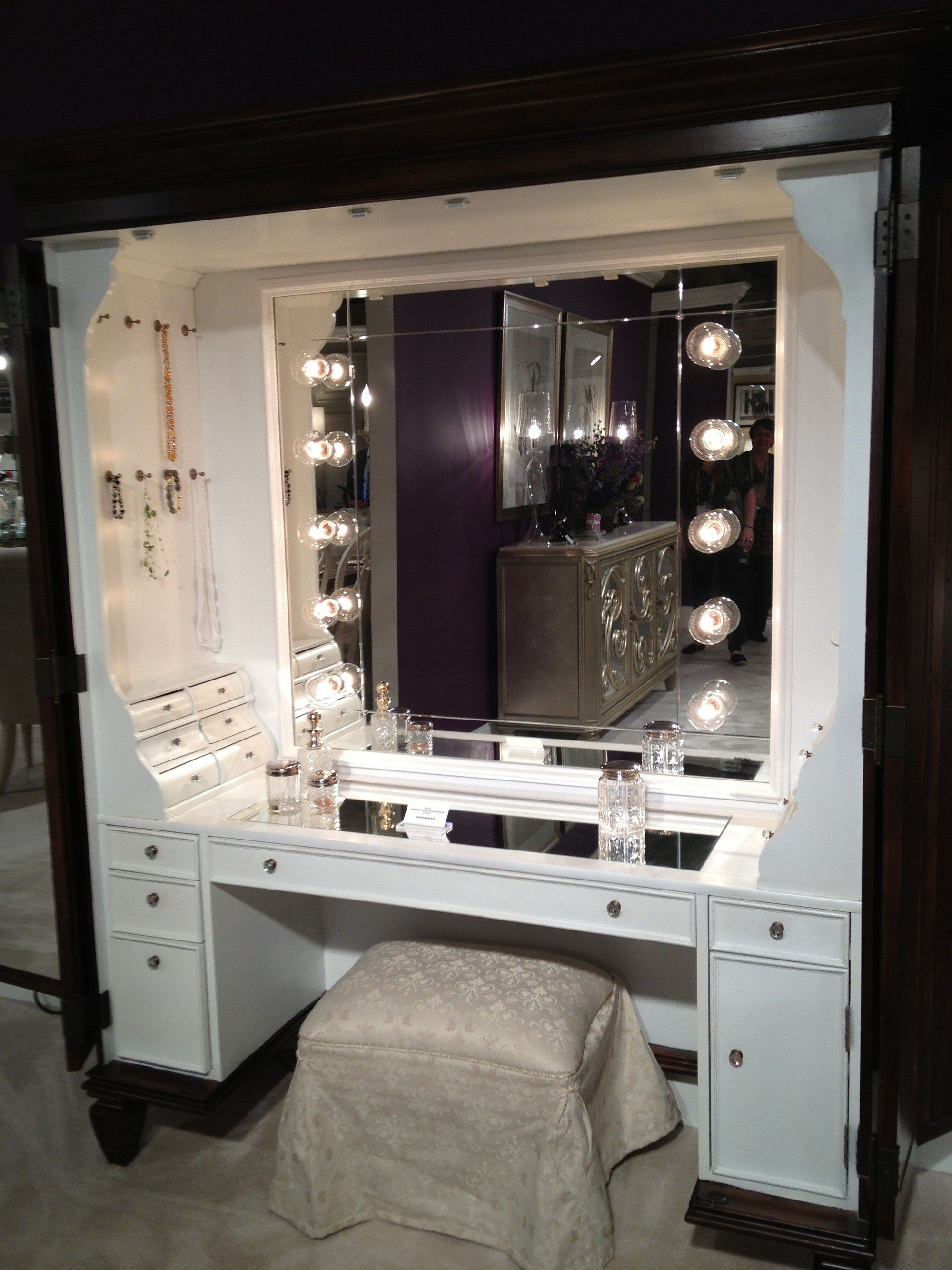 Beautiful Living Space Lights also Cute Cupboard With Mirror and Stool