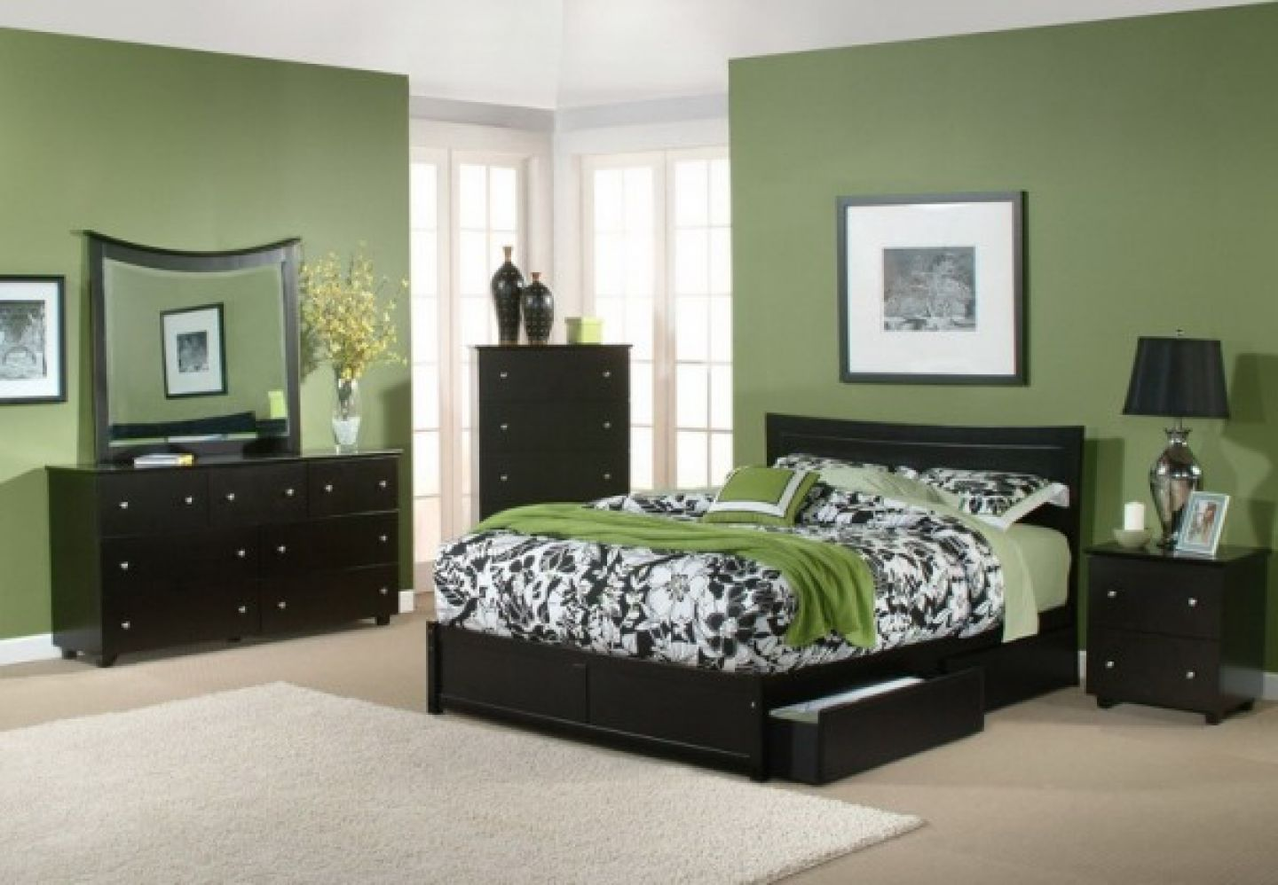 Brilliant Bedroom Design Using Green Wall Paint and Black Furniture
