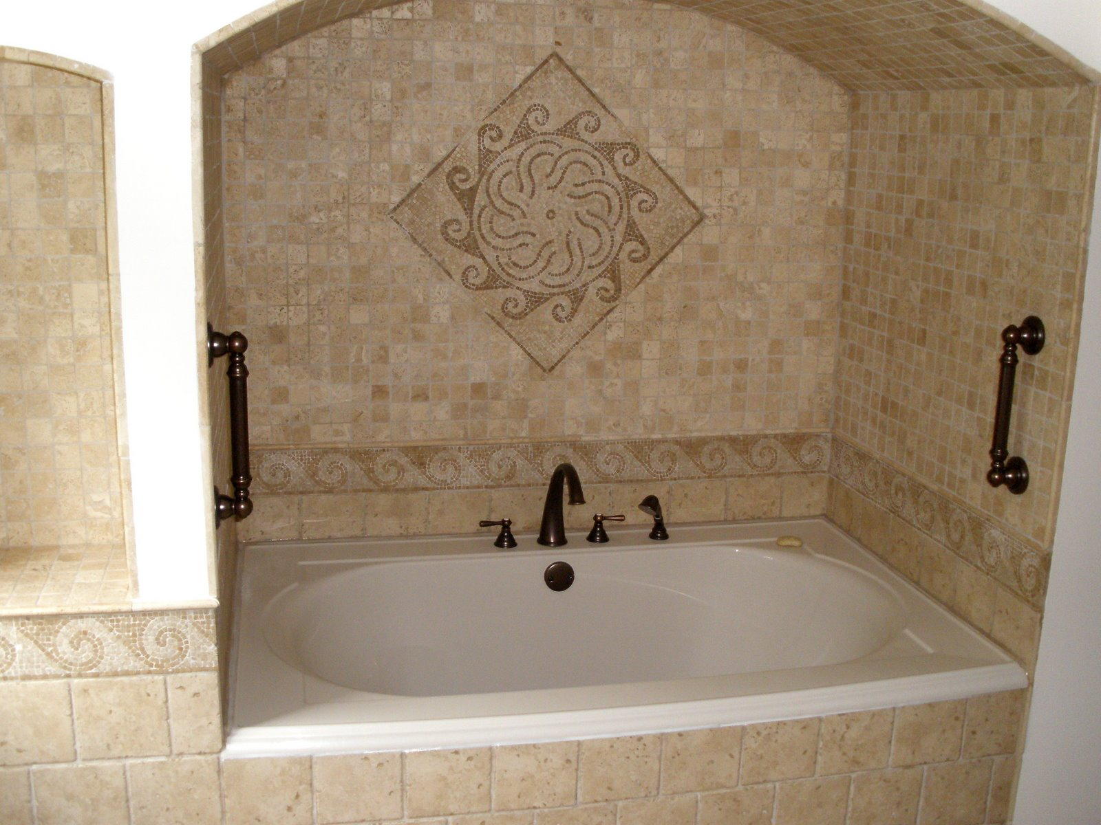 Captivating Interior Bathroom Using Nice Wall Tile also Simple Bathtub