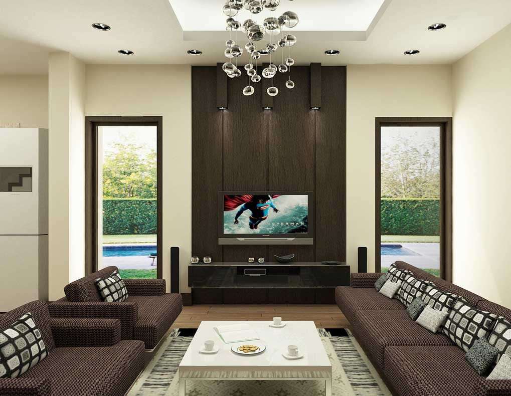 Captivating Interior Using Charming Sofa and Square Coffee Table  also Living Room Lights