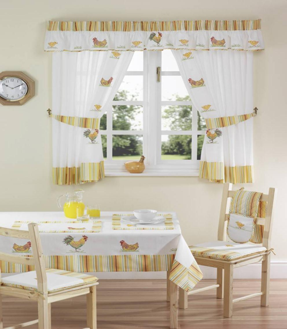 Captivating Kitchen Window Ideas Using Fabric Curtain And Chic Dining Table Sets