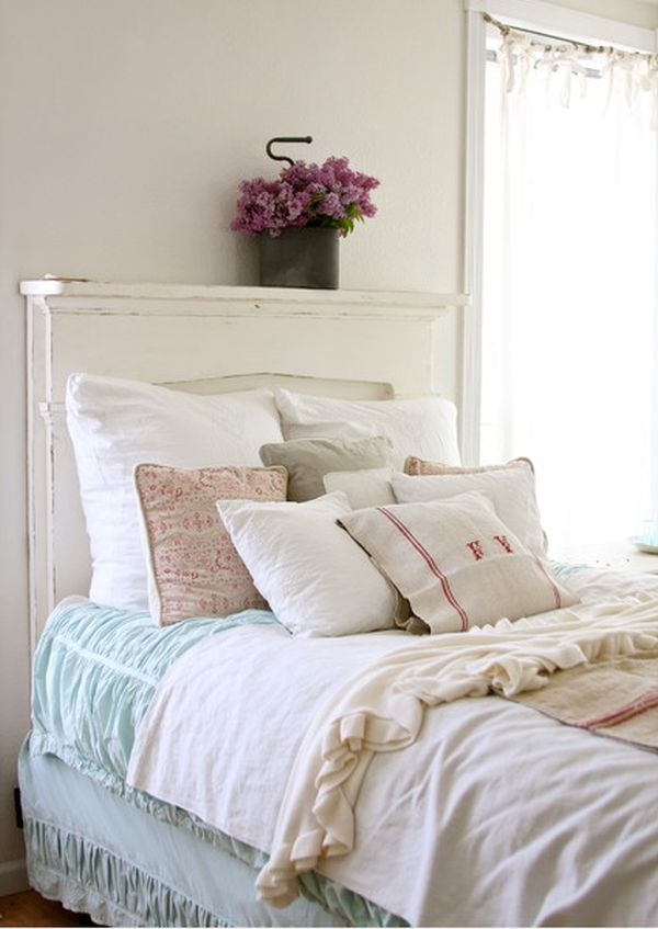 Chic Bedroom Design With Wood Headboard also Purple Flower On Vase