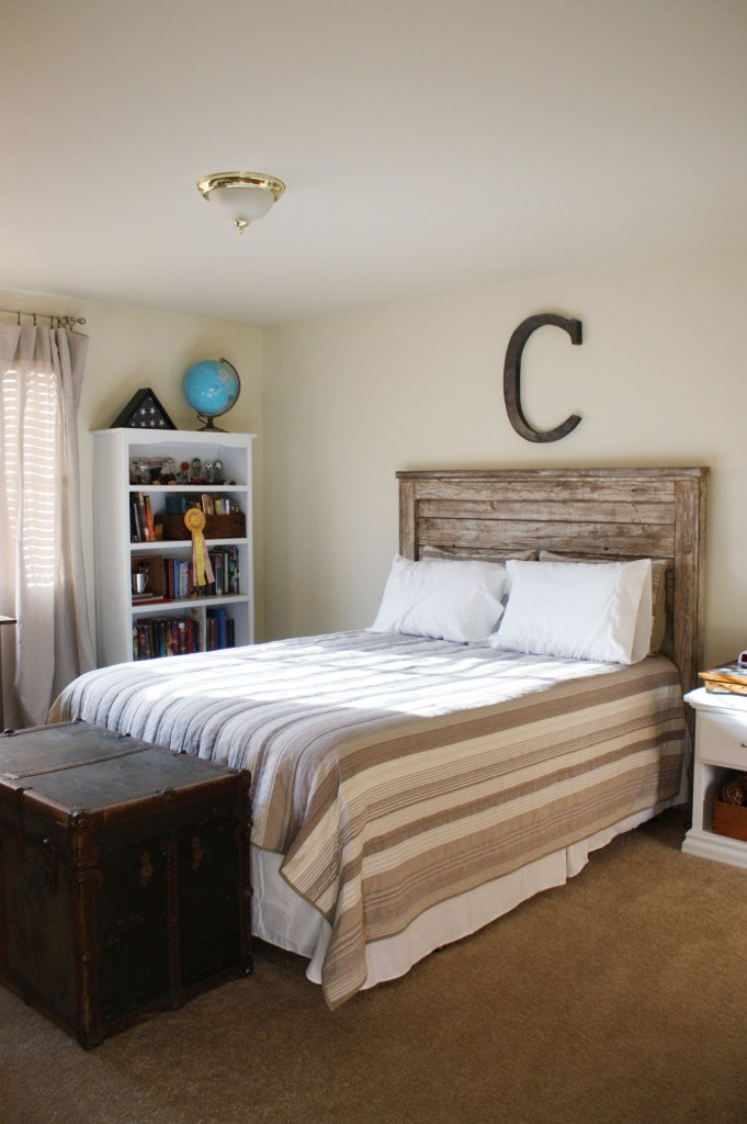 Classy Wood Headboard also White Bookshelve For Teenage Bedroom Ideas