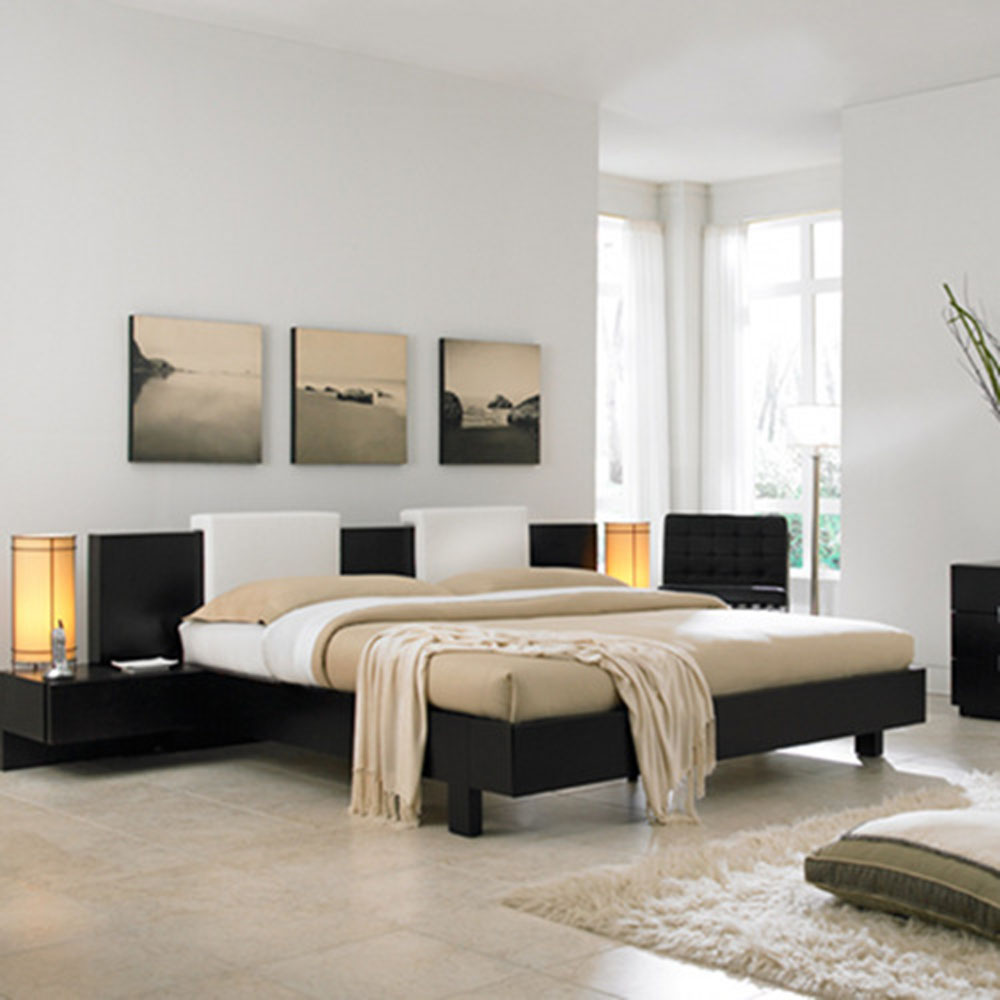 Contemporary Bed Also Table Lamps Plus Lush Bedroom Painting Ideas