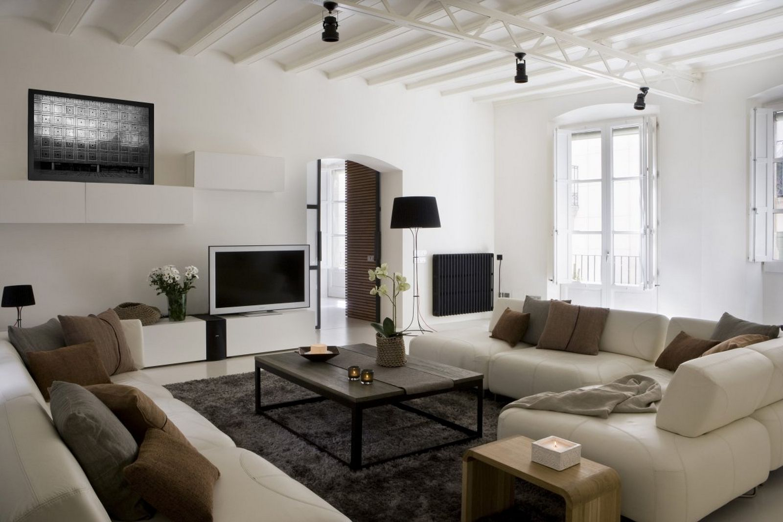 Contemporary Interior Living Room Layouts Using White L Shape Sofa Plus Table
