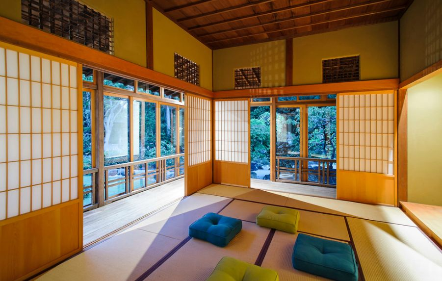 Contemporary Room With Blue and Green Cushion also Interesting Japanese Doors
