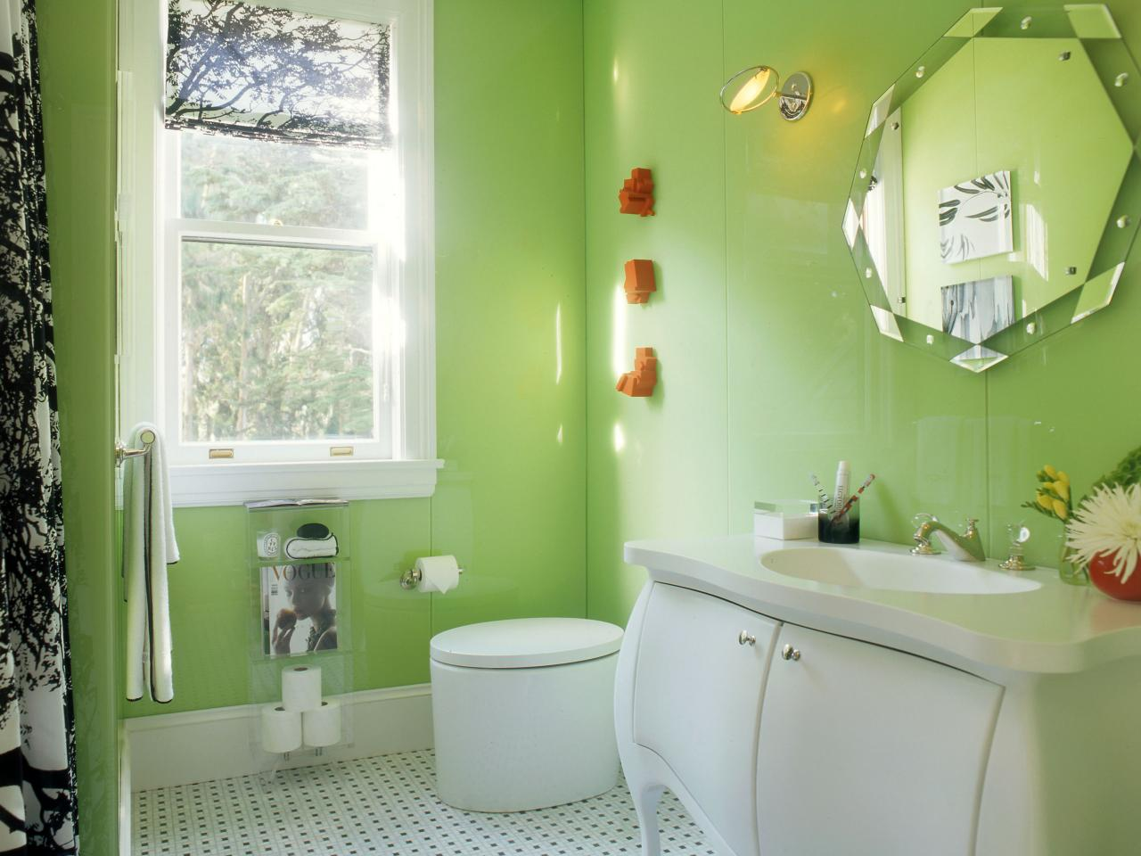 Dainty Cabinet and Toilet also Green Paint Bathroom Wall Ideas