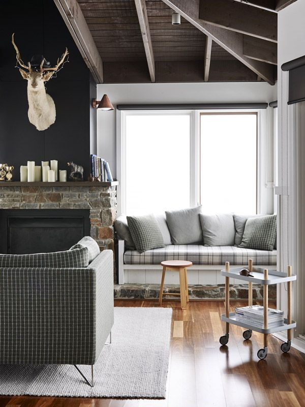 Delightful InteriorFamily Room With Rustic Modern Furniture Of Brick Fireplace Mantel