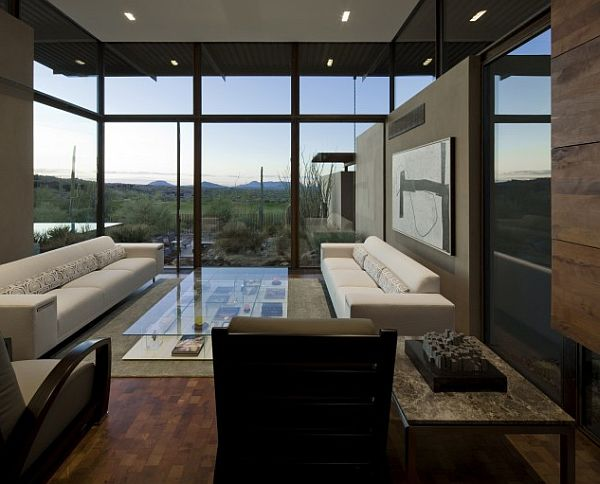 Delightful Living Room Design With Sofa and Large Glass Coffee Table