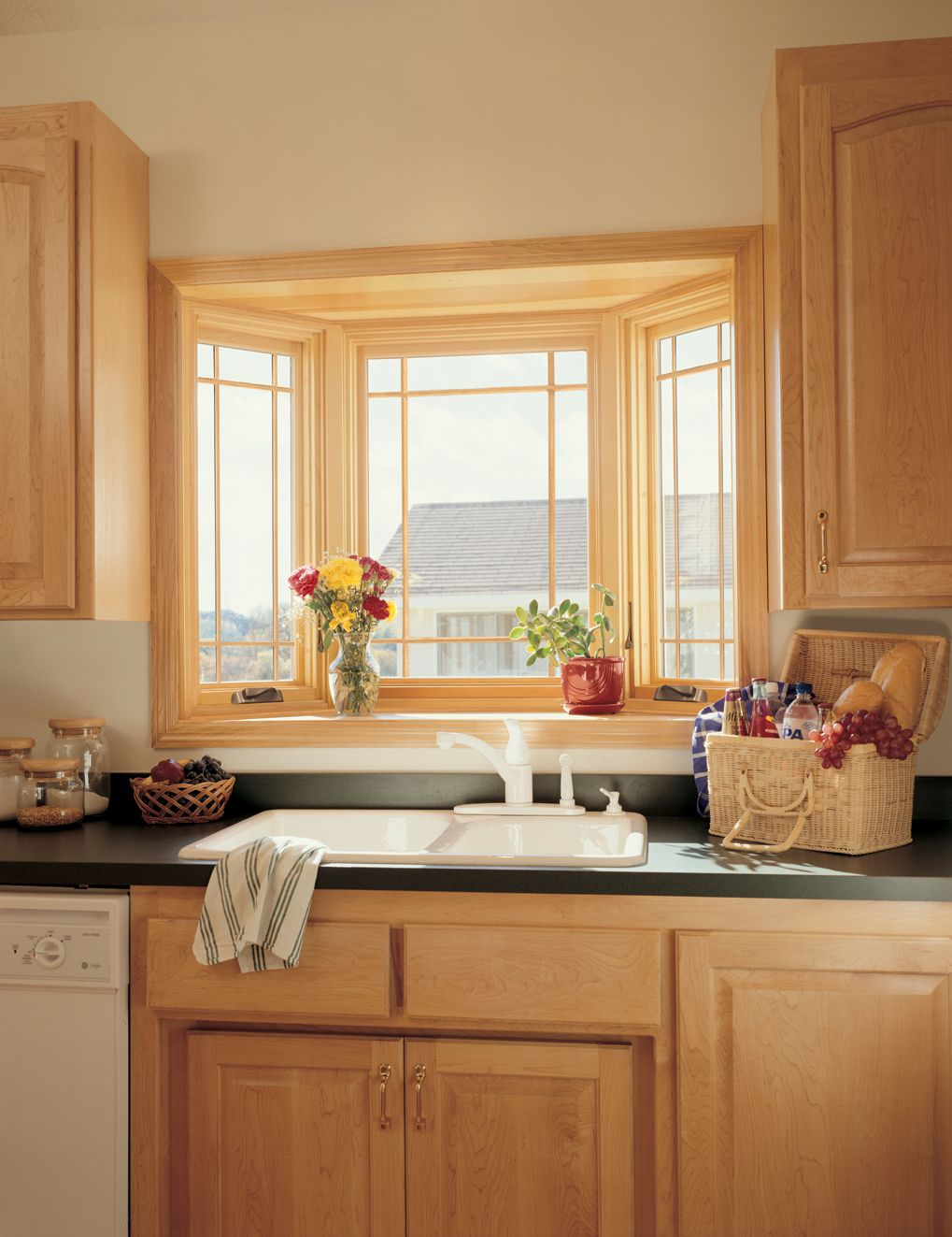 Delightful Wooden Cabinet With Black Countertop also Simple Window Design