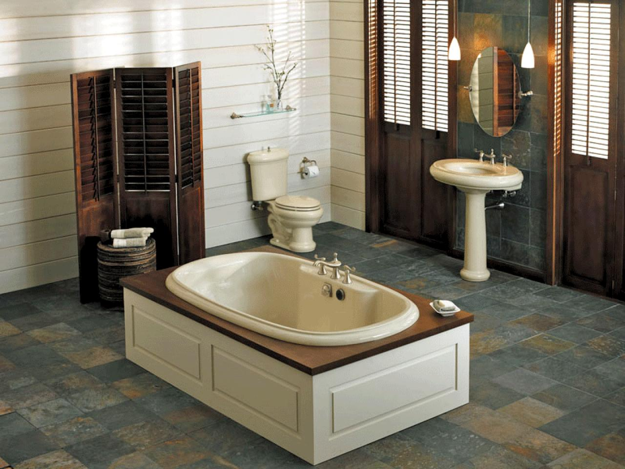 Divine Bathroom Wall Ideas also Tub Plus Wooden Divider Near Toilet