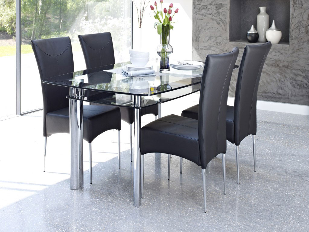 Glass dining room tables rectangular - Elegant Interior Dining Room With Rectangular Glass Table And Dark Chairs