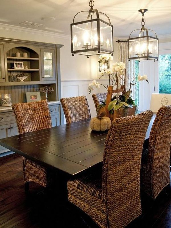 Elegant Wooden Table and Wicker Dining Room Chairs Under Pendant Lighting