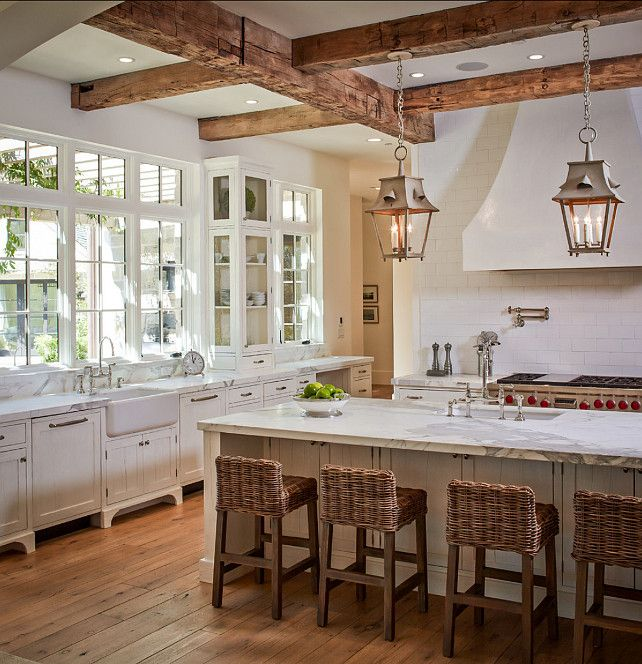 Entiching Interior Design With Rustic Kitchen Lighting also Wooden Beam