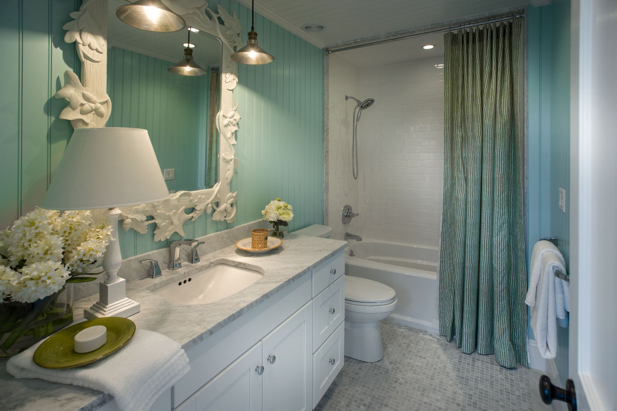 Fantastic Bathroom Wall Ideas Plus White Cabinet and Large Mirror