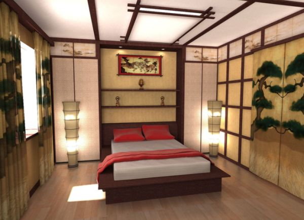 Fantastic Bedroom With Bed Between Bright Lighting also Sliding Doors