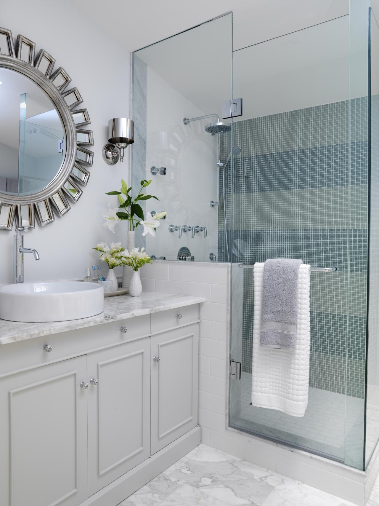 Fascinating Interior Bathroom With Cabinet also Showering Area and Mirror