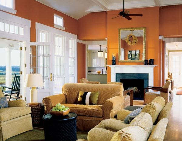 Gorgeous Sofa Set Plus Ceiling Van also Orange Living Room Wall Design