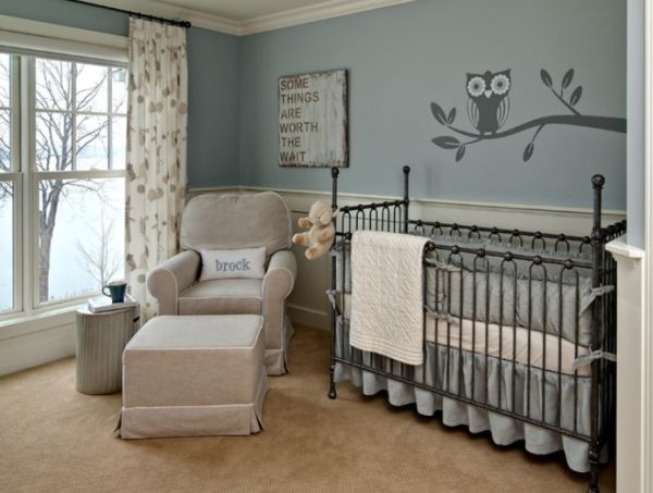 Graceful Nursery room With Iron Crib also Arm Chair and Table